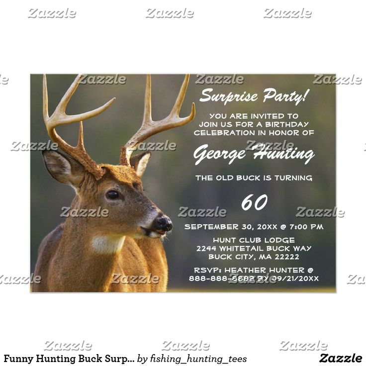 make your own birthday party invitations online for free%0A Funny Hunting Buck Surprise Birthday Invitation Your friends will love this  funny surprise birthday party invite for the old man or woman