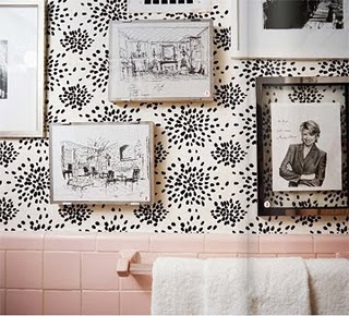 .Pink Bathrooms, Wall Decor, Pink Tile, Dreams Home, Bathroom Inspiration, Downstairs Bath, Albert Hadley, Tile Bathroom, White Wall
