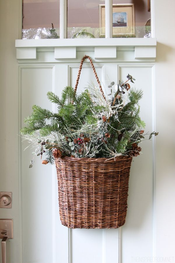 Christmas outdoor decorating - hanging basket on the door with greenery -The Inspired Room House Tour