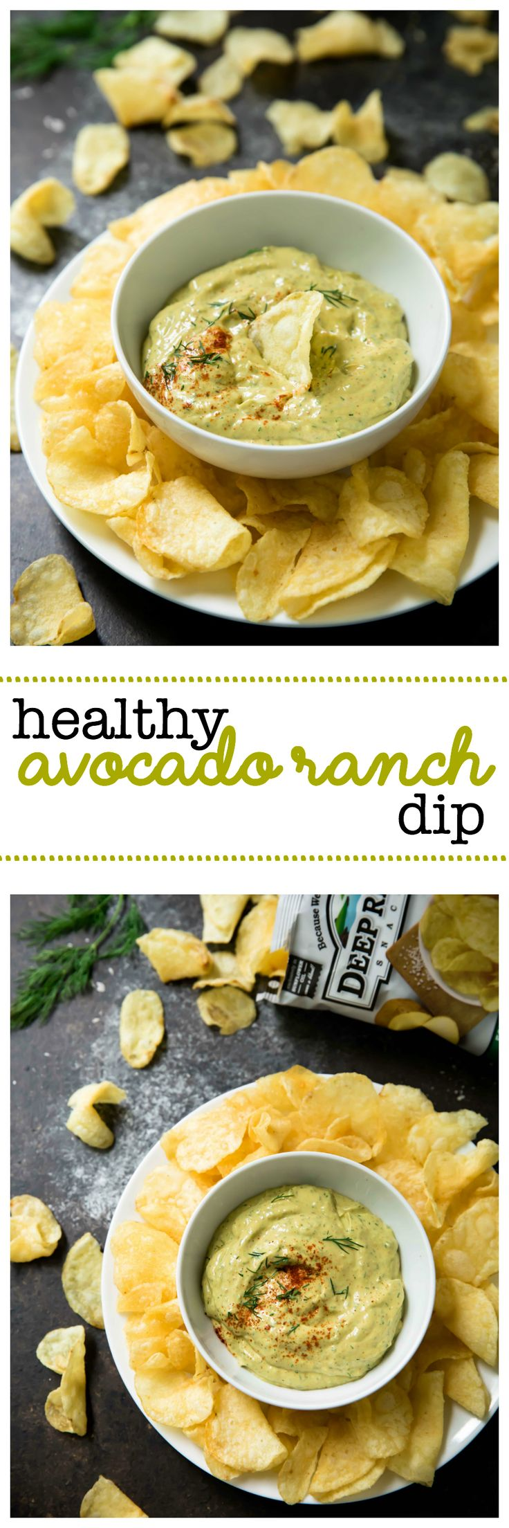 Healthy Avocado Ranch Dip – The perfect recipe for chip dippin'! Creamy avocado, fresh dill, a hint of vinegar and garlic… oh boy. It's the best. AD #IGiveAChip