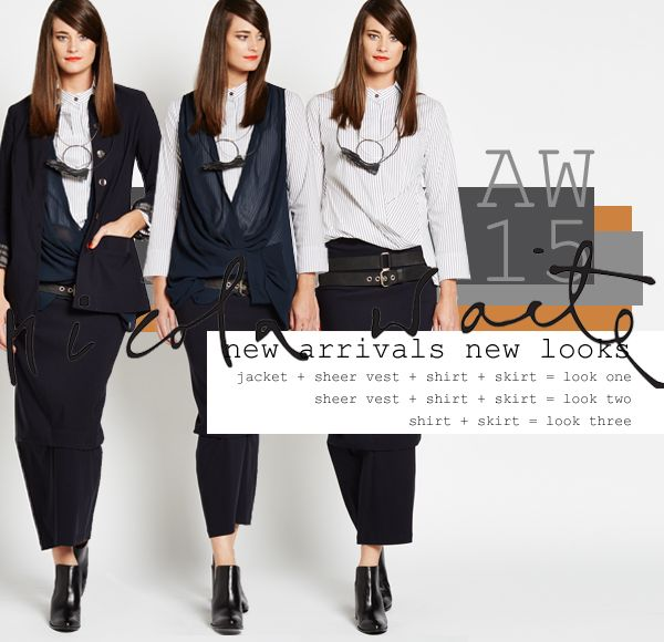 LARGE NEW DROP IN STORES AND ONLINE! In this drop dark ink is punctuated by sheers that come in brass and midnight, as well as many new shirt styles in copper, silver and charcoal stripe. Our pick of the week is our stretch suiting styles... Nehru jacket, side tuck skirt, narrow pant, crop cuff pant and cut away vest which are flattering, comfortable and chic. They look great dressed up or down and can be mixed with pieces in all our highlight colours. Available in stores and online now!