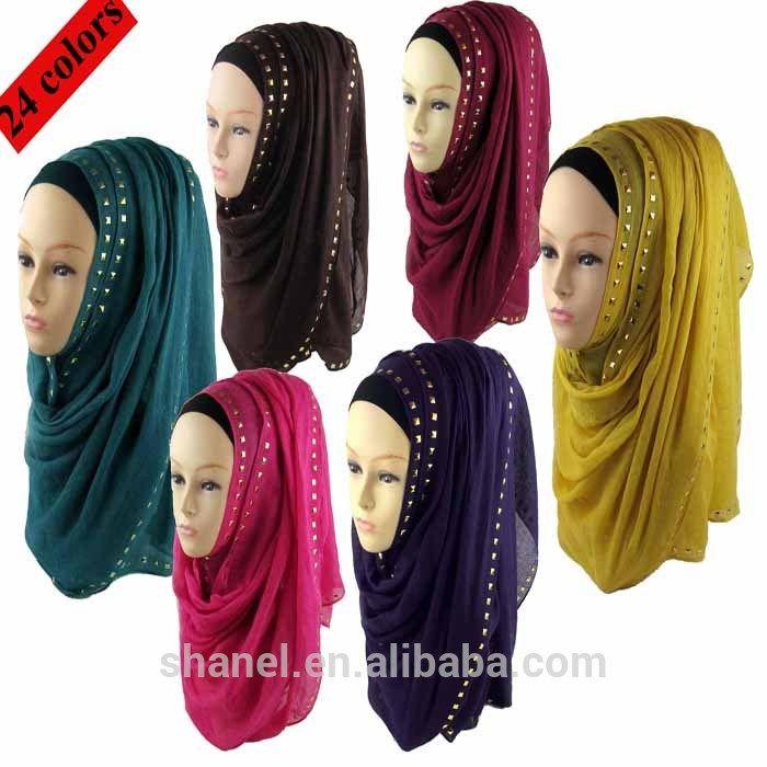 wholesale popular stud hijabs muslim hijab scarf