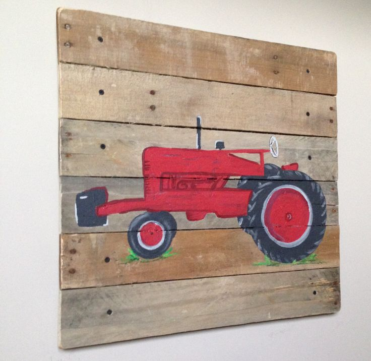 Red Tractor art, rustic art,20x20,Pallet Art,Farmall Old Red Tractor,Farm,Barn,Decor,Boys Bedroom,Nursery art,wood plank art,Any Color by RusticTreeHouse on Etsy https://www.etsy.com/listing/267418790/red-tractor-art-rustic-art20x20pallet