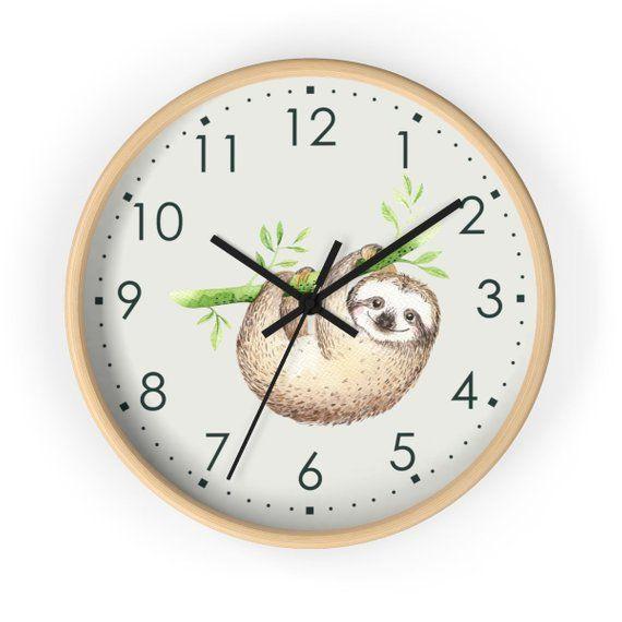 Sloth Wall Clock Kids Modern Nursery Decor Decorative