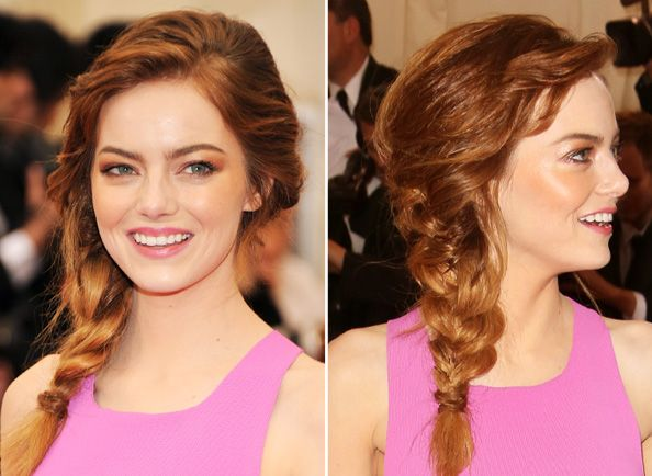 Get the Look: Emma Stone's Perfectly Tousled Side Braid  #InStyle
