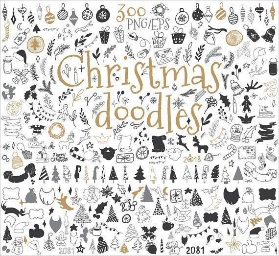 Christmas Doodle clipart Design elements Christmas decor Sketched Christmas doodles Vector clipart Hand drawn