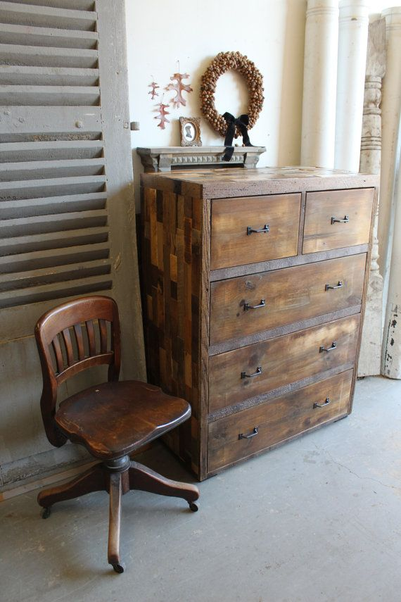 Reclaimed Pallet and Barn Wood 5 Drawer Dresser  by newantiquity, $828.00