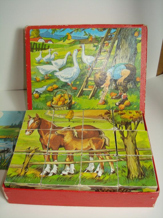 Vintage Wooden Cube Puzzle Farm Animals I had this! Each side was a different scene of farm animals!