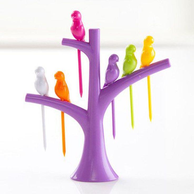 Juegos de Vajilla vajilla Creativo Árbol + Birds Diseño Horquillas 1 Soporte + 6 Tenedores De Frutas De Plástico Venta Caliente de Verduras Tenedor envío Gratis