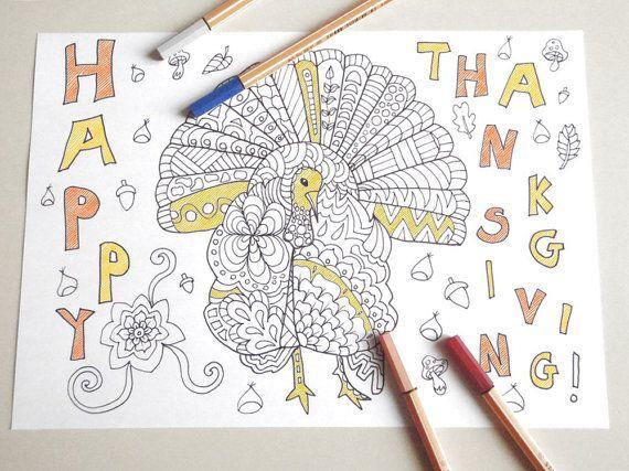 tacchino ringraziamento cartolina colorare per adulti bambini zen libro colorare festa stampabile instant download digitale lasoffittadiste