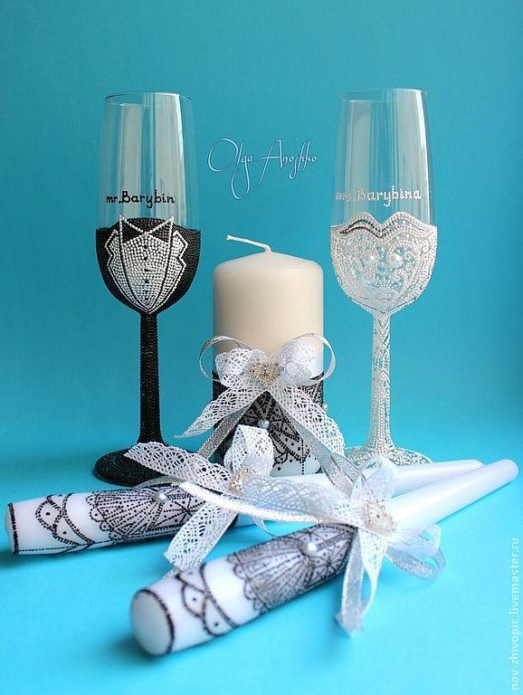 Купить Свадебный набор со свечами. - свадебный набор, свадебный комплект, свадебные бокалы