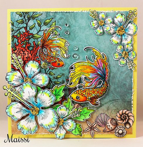 Aquavarium card from http://maissinaskartelusoppi.blogspot.fi . Made with stamps from Heartfelt Creation.