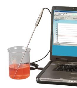 """TJ-USB Series of thermocouple probes with direct USB connection feature a rugged transition joint construction, 2 m (6') of shielded output cable and free user software that converts your PC into a temperature meter, chart recorder or data logger. Probes are available off-the-shelf in 18 or 24"""" lengths and with 0.187 or 0.250"""" 304 stainless steel, Inconel or high performance Super OMEGACLAD XL® sheathing."""