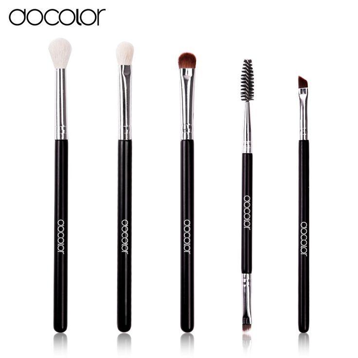 Docolor 5 pz/set occhio professionale di trucco pennelli set top capra e capelli sintetici cosmetici viso ombretto pennello kit pincel