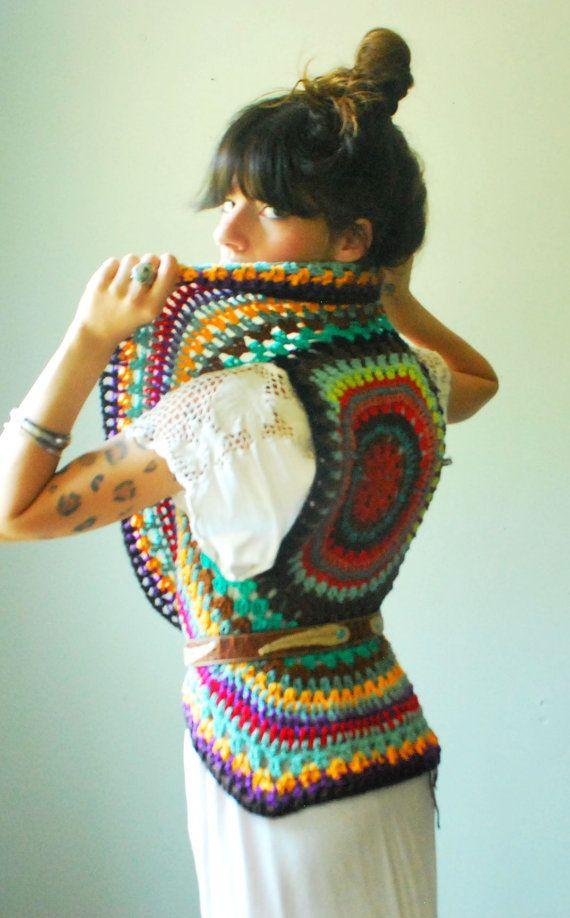 Free Crochet Pattern For Mandala Vest : Crochet mandala vest. size small. one of a kind. ready to ...