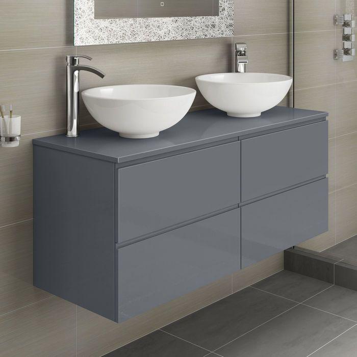 Trevia Gloss Grey Double Puro Basin Countertop Vanity Unit 1200mm Single Bathroom Vanity Vanity Vanity Sink