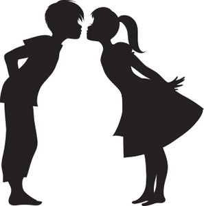 First Kiss Clipart Image: Silhouette of a First Kiss