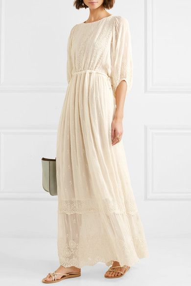 LoveShackFancy | Cecily embroidered georgette maxi dress | NET-A-PORTER.COM