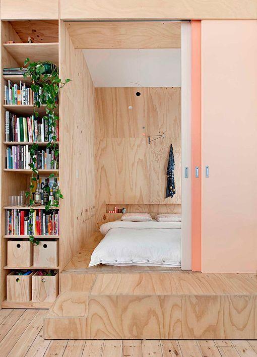 Piso de 75 metros, dormitorio de madera contrachapada