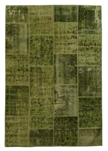 The Orient Bazaar - Overdyed Rug - Green Color Vintage Patchwork Rug - Recoloured Contemporary Rug
