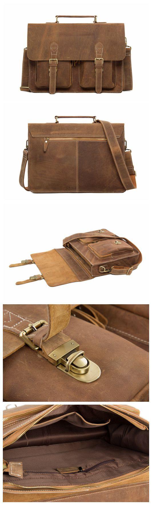 Laptop bags office depot - Handcrafted Top Grain Genuine Leather Laptop Briefcase Business Handbag Men Messenger Bag 0344
