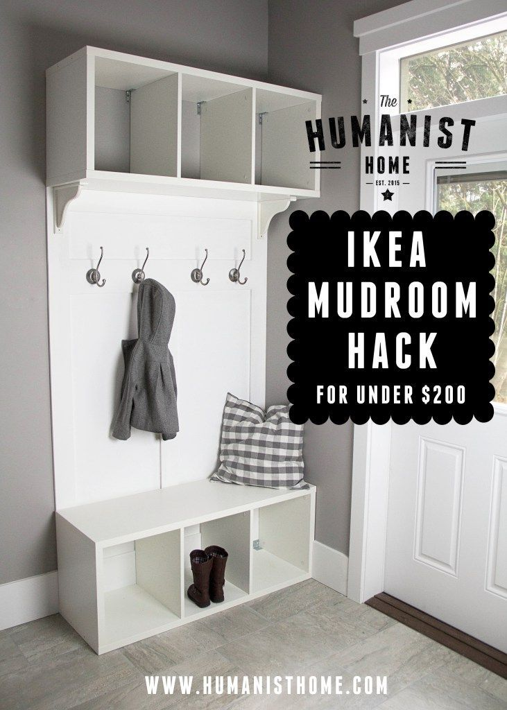 This is my first attempt at an IKEA Hack, so let me know if you have any questions! IKEA Shopping List: 2 x STOLMEN Open Storage $60/each 2 x LILLHOLMEN Hooks $9.99/2 pack 2 x EKBY HENSVIK White B…