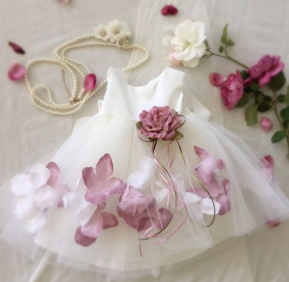 Flower Petals and Tulle Baby Dress. Perfect for Spring and Easter. PurdyGurly.com PurdyGurly.etsy.com