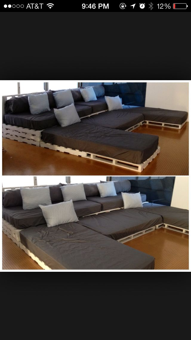 Movie room, elevated seating with pallets.  The blog could go in the middle!