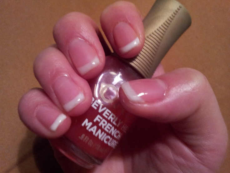 Gel American Manicure (red polish on the beds; tips are a ...