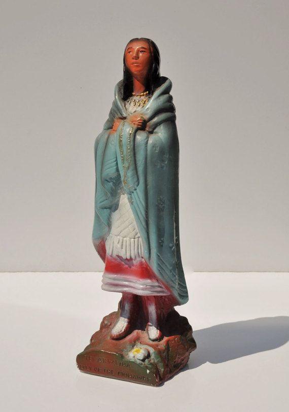 Vintage Religious Icon Statue Saint Kateri Tekakwitha