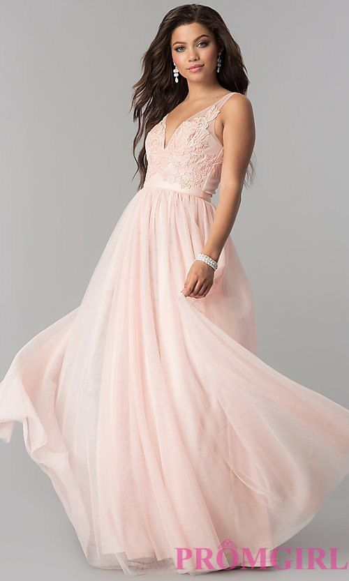 V Neck Lace Lique Long Tulle Prom Dress
