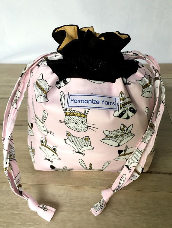 Cool Critters Knitting or Crochet Drawstring Project Bag/ WIP