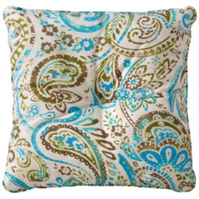 25' Tufted Throw Pillow/Cushion 25'x25'x6' - Ocean Blue Paisley Print
