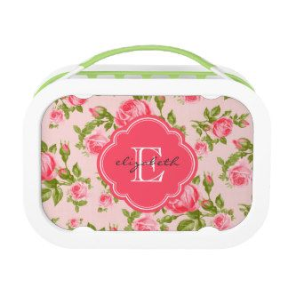 Personalized Lunch Box for girls Girly Vintage Roses Floral