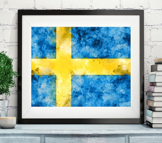 Sweden Flag Art, https://www.etsy.com/listing/473825625/sweden-flag-art-sweden-flag-print-flag?ref=shop_home_active_14 Sweden Flag Print, Flag Poster, Country Flags, Watercolor Painting, Watercolor Flag, Swedish Flag, Swedish Gifts, Wall Art