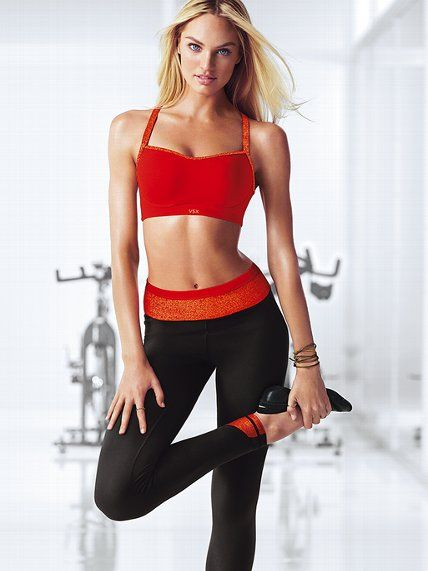 Look naughty AND nice when you workout in this cute #VSX sports bra and tight combo.