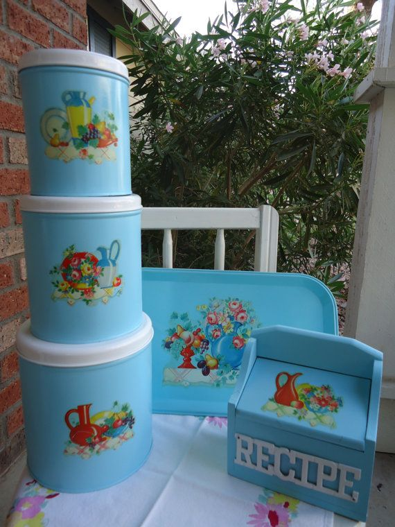 Vintage Aqua Canister Set | Chic Vintage Canisters   Tray And Recipe Box    Retro,