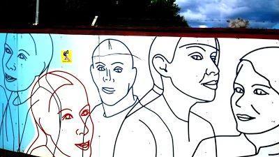 Tämäkin oli katutaidetta, taidetta aidalla, aidassa, Vallilassa, Helsingissä