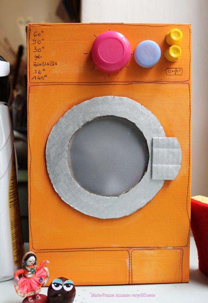lavadora de cartón y tapones