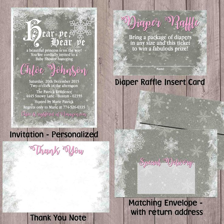 baby shower invitation wording for bringing diapers%0A winter wonderland  snowflake  baby shower set  pink or blue Invitations