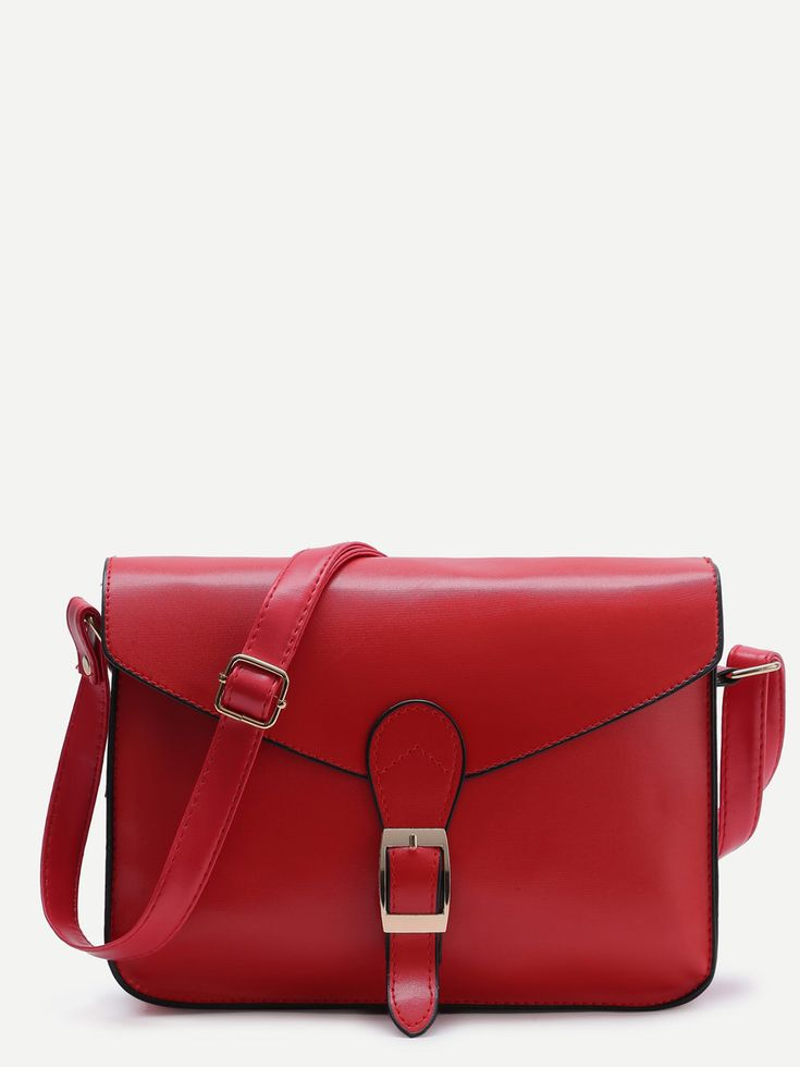 Red Buckle Design Flap Messenger BagFor Women-romwe