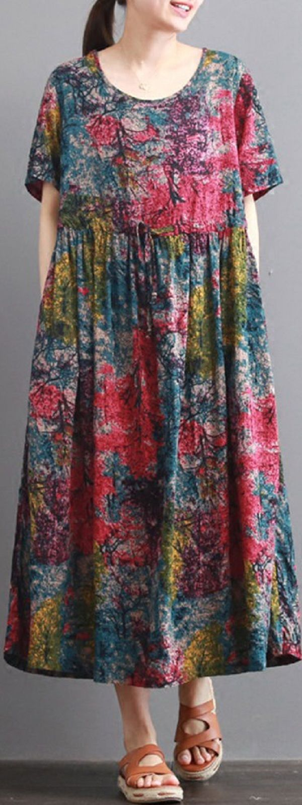 US$ 23.42 O-NEWE Vintage Printed Short Sleeve O-Neck Women A-Line Dress