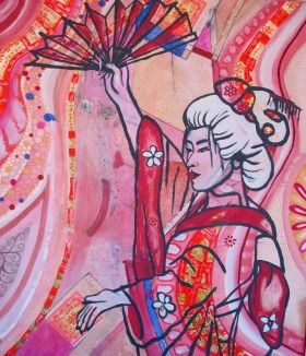 This Piece is a part of a series called Geisha. Bold lines and gorgeous colors reflect femininity and grace.