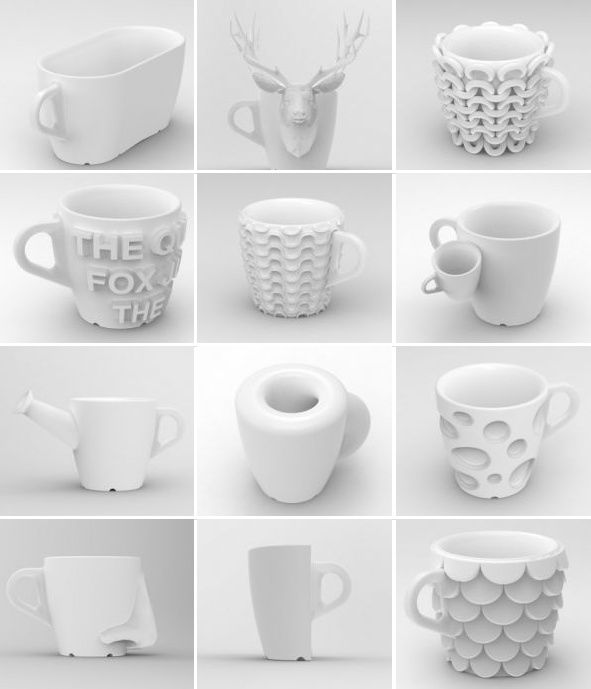 3D printed coffee mugs.
