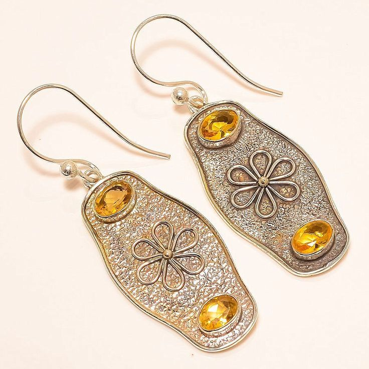 Aaa Quality Citrine Vintage Style 925 Sterling Silver Jewelry Earring 2.17