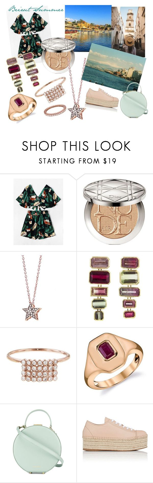 """""""Beirut Summer Look"""" by joanneylang23 ❤ liked on Polyvore featuring Christian Dior, Selim Mouzannar, Yannis Sergakis Adornments, Shay, Tammy & Benjamin, Miu Miu and Sethi Couture"""