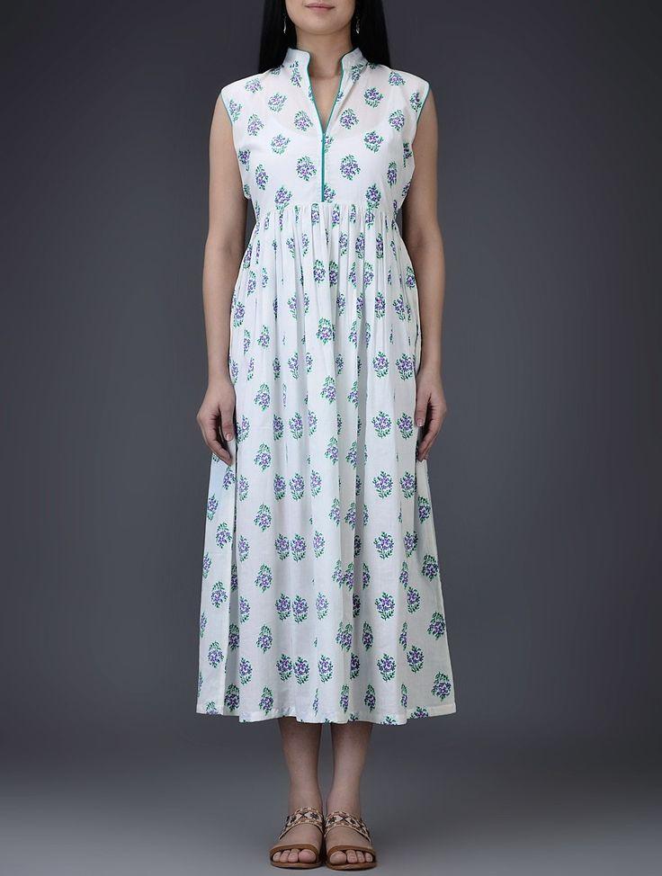 Buy Ivory Purple Green Mandarin Collar Block Printed Cotton Mul Dress with Gathers Women Dresses Online at Jaypore.com