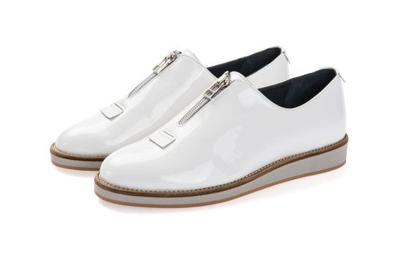 Clearance On sale -White platform sneakers for women - size 36 eu - white leather shoes - flat platform shoes - girls white shoes women