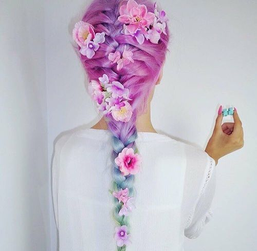 Purple blue and green Hair with flowers
