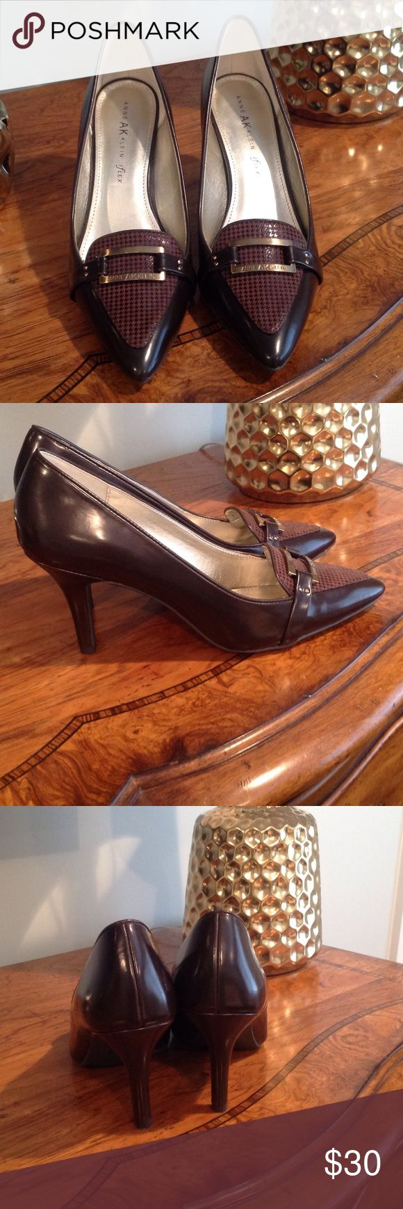 Anne Klein brown pump, sale! Very comfortable pump, worn once, look at pics front has Plaid pattern on toe with a buckle Ann Klein Shoes Heels